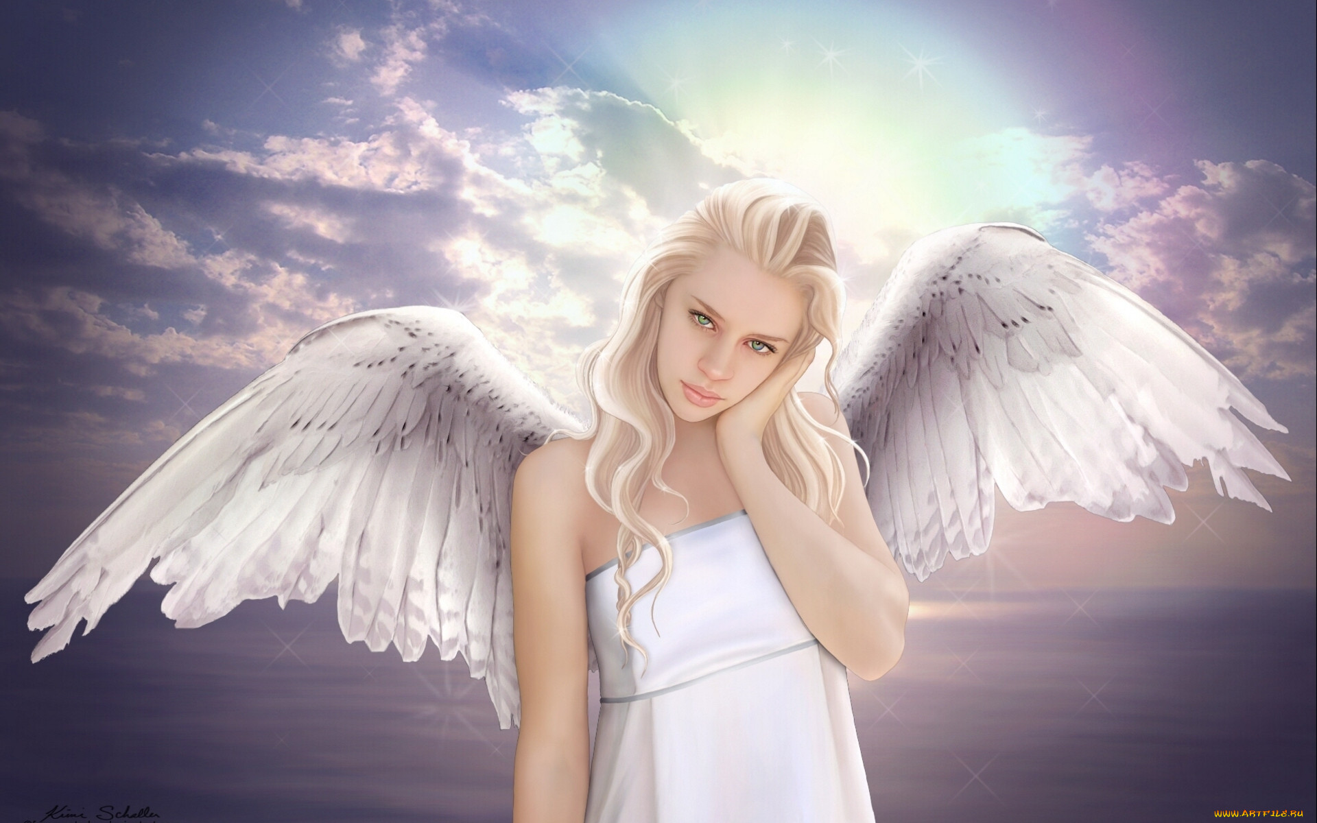 Открытки ангел девушка